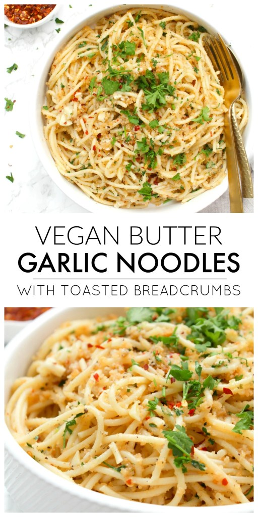 These Vegan Butter Garlic Noodles with Toasted Breadcrumbs are a simple pasta dish with all kinds of flavor. The breadcrumbs add a crunch that is next level delicious | ThisSavoryVegan.com #thissavoryvegan #veganpasta