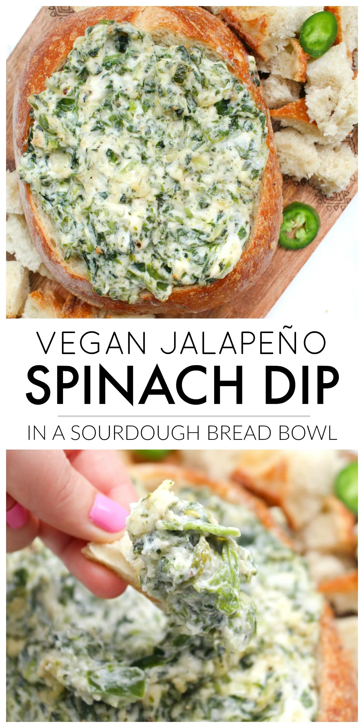 This Vegan Jalapeño Spinach Dip is the perfect game day or party snack. No one will ever know this creamy deliciousness is even vegan | ThisSavoryVegan.com #thissavoryvegan #veganspinachdip