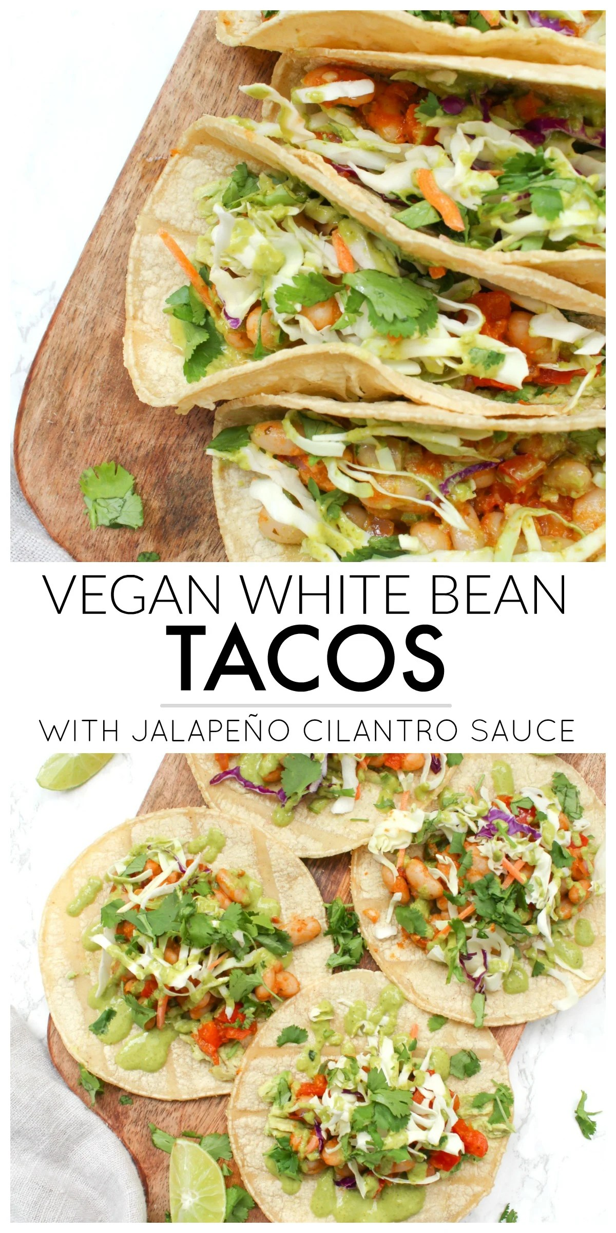 These Vegan White Bean Tacos with Jalapeño Cilantro Sauce are filled with spicy white beans, pre-made slaw and a delicious green sauce | ThisSavoryVegan.com #thissavoryvegan #vegantacos