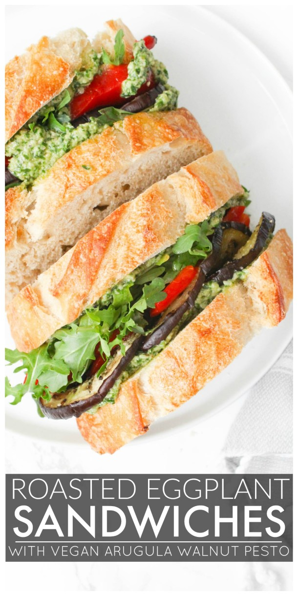 These Roasted Eggplant Sandwiches with Vegan Arugula Walnut Pesto are packed with roasted red peppers, eggplant, fresh arugula and pesto mayo | ThisSavoryVegan.com #thissavoryvegan #vegan #vegansandwich
