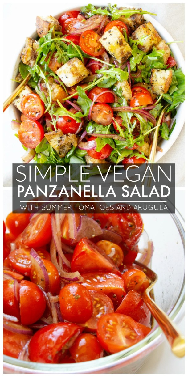 This Simple Panzanella Salad is made with loads of fresh tomatoes, crispy bread, red onion, arugula and a balsamic dressing | ThisSavoryVegan.com #thissavoryvegan #vegan #panzanella