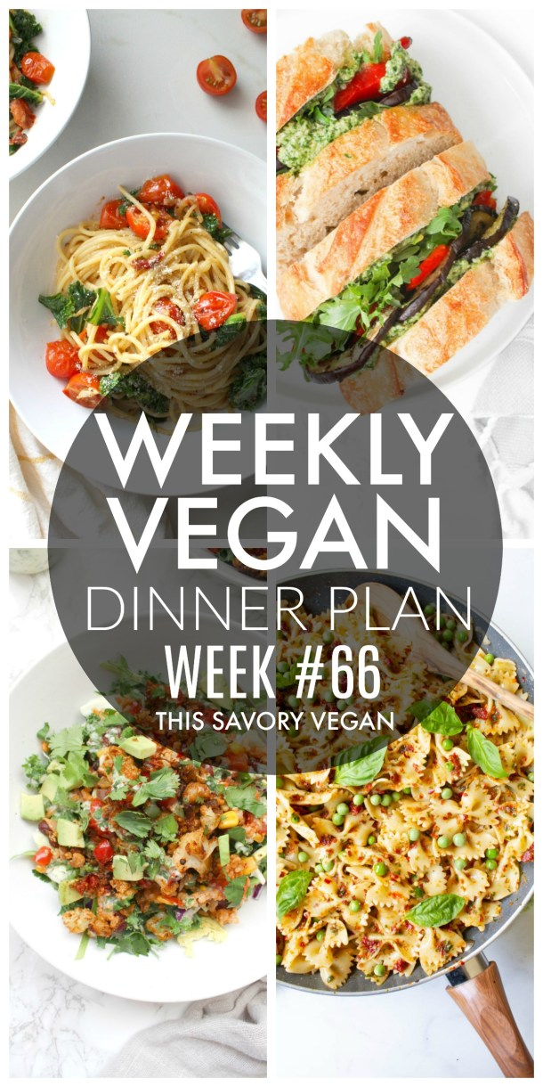 Weekly Vegan Dinner Plan #66 - five nights worth of vegan dinners to help inspire your menu. Choose one recipe to add to your rotation or make them all - shopping list included | ThisSavoryVegan.com #thissavoryvegan #mealprep #dinnerplan