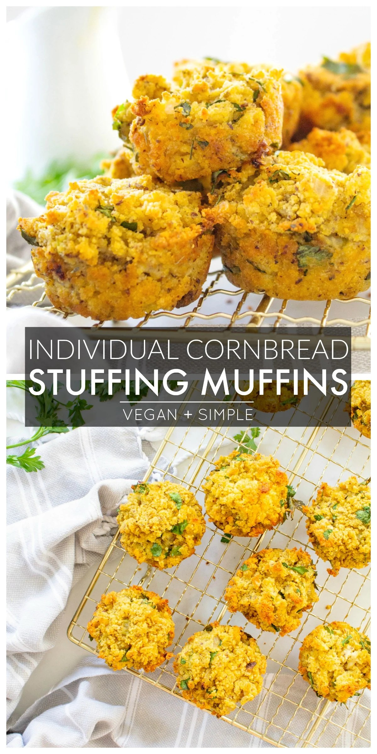 These Individual Vegan Thanksgiving Stuffing Muffins are the perfect Thanksgiving side dish. A savory cornbread mixture in a small package | ThisSavoryVegan.com #thissavoryvegan #vegan #veganthanksgiving
