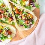 These BBQ Tempeh Tacos with Vegan Ranch are filled with crispy tempeh, avocado salsa, homemade slaw and vegan ranch. The perfect vegan taco   ThisSavoryVegan.com #thissavoryvegan #vegantacos #tempehtacos