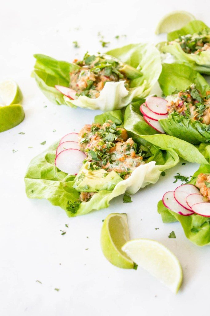 These BBQ Chickpea Lettuce Wraps are the perfect lunch or dinner when you don't feel like cooking. Topped with Vegan Cilantro Ranch Dressing & avocado slices | ThisSavoryVegan.com #thissavoryvegan #bbqchickpeas #veganlettucewraps
