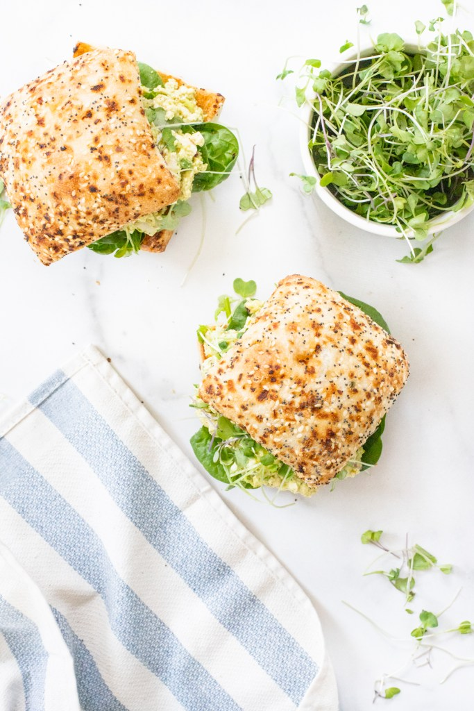 A classic recipe is vegan-ized with these Vegan Egg Salad Sandwiches. Perfect lunch or dinner for warm weather days when you don't feel like cooking | ThisSavoryVegan.com #thissavoryvegan #veganeggsalad #vegansandwiches