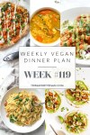 Weekly Vegan Dinner Plan #119 - five nights worth of vegan dinners to help inspire your menu. Choose one recipe to add to your rotation or make them all - shopping list included | ThisSavoryVegan.com #thissavoryvegan #mealprep #dinnerplan
