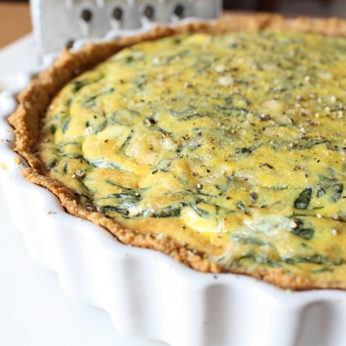 Spinach quiche on the counter
