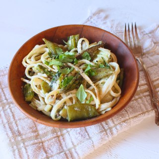 Creamy Cashew Pasta with Spring Roasted Veggies
