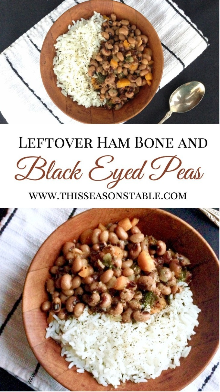 Get the most out of your ham by using the ham bone to make a delicious black-eyed pea soup! So easy...just let your crock pot do all the work for you! Leftover ham | Hambone | Black Eyed Peas | Black Eyed Pea Soup | Crock Pot Recipes | Dinner Recipes