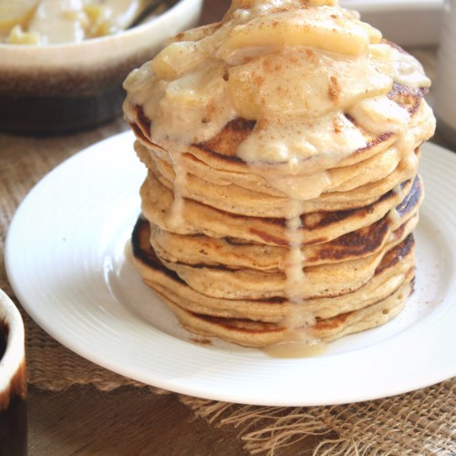 Must try Buttermilk Whole Wheat Pancakes topped with a creamy dairy free caramel apple sauce...perfect for fall!