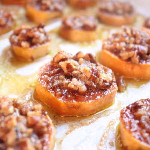 Get the taste of homemade sweet potato casserole in bite sized sweet potato slices with a pecan praline topping. The perfect Thanksgiving appetizer!!