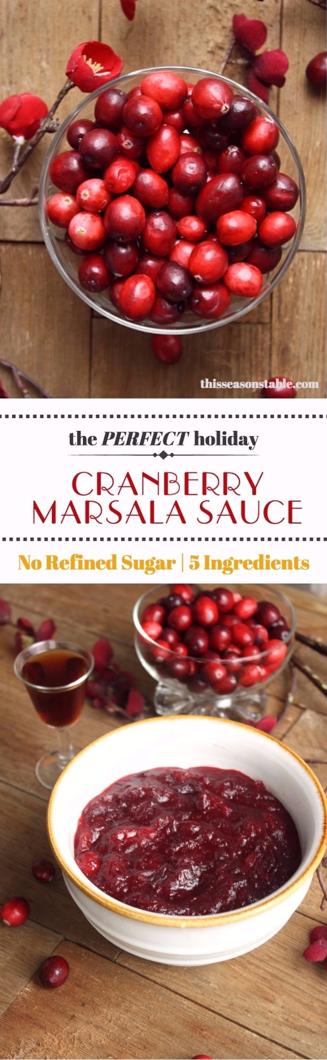 A delicious cranberry sauce with notes of marsala wine, honey, and citrus. Makes the perfect addition to a Thanksgiving or Christmas dinner!