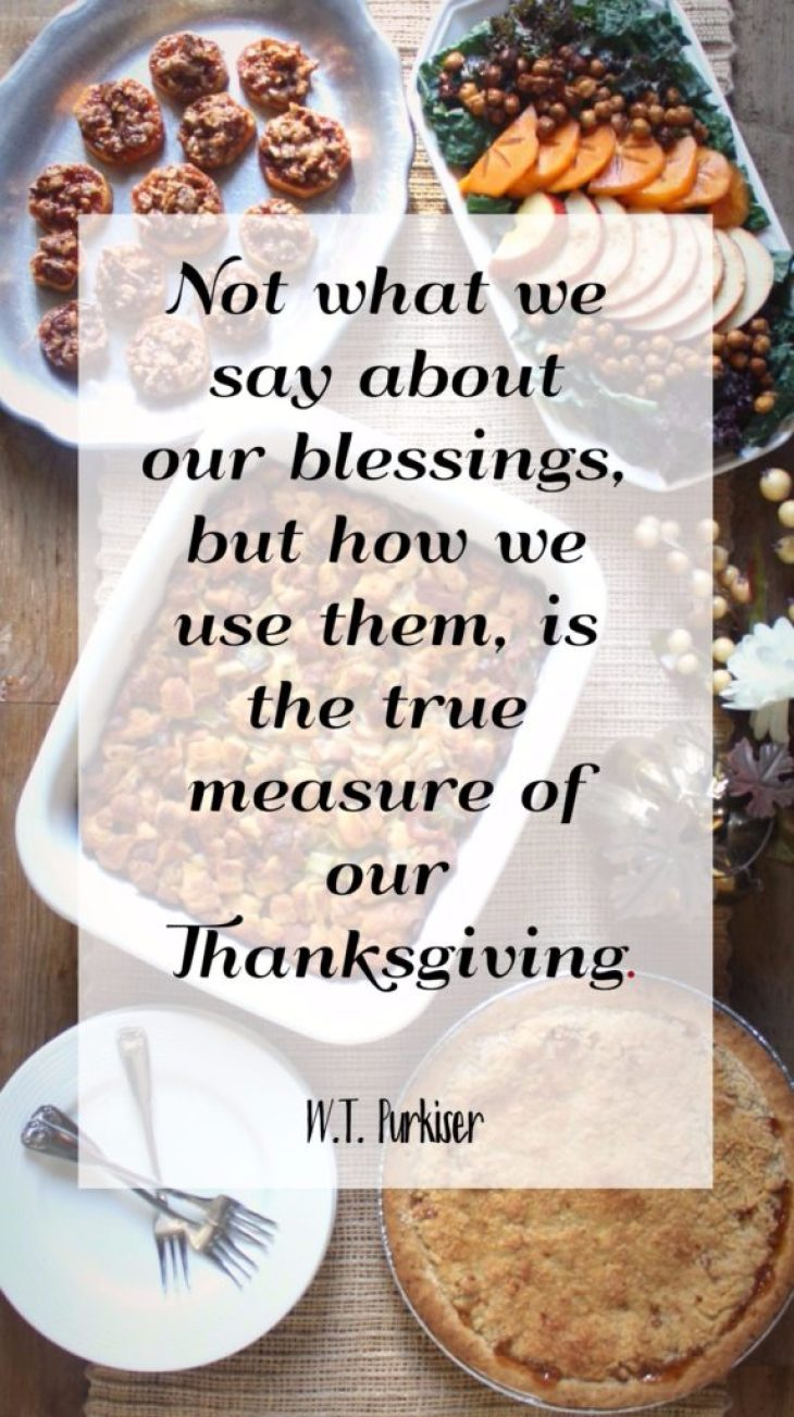 "Quote saying ""Not what we say about our blessings, but how we use them is the true measure of our Thanksgiving."""