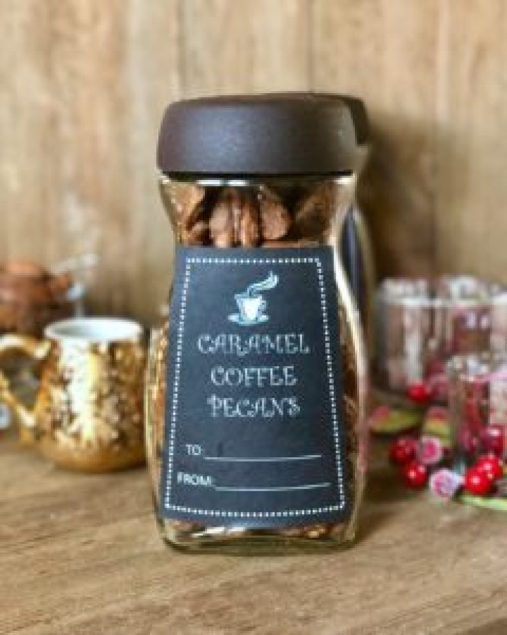 coffee pecans in a jar with homemade labels