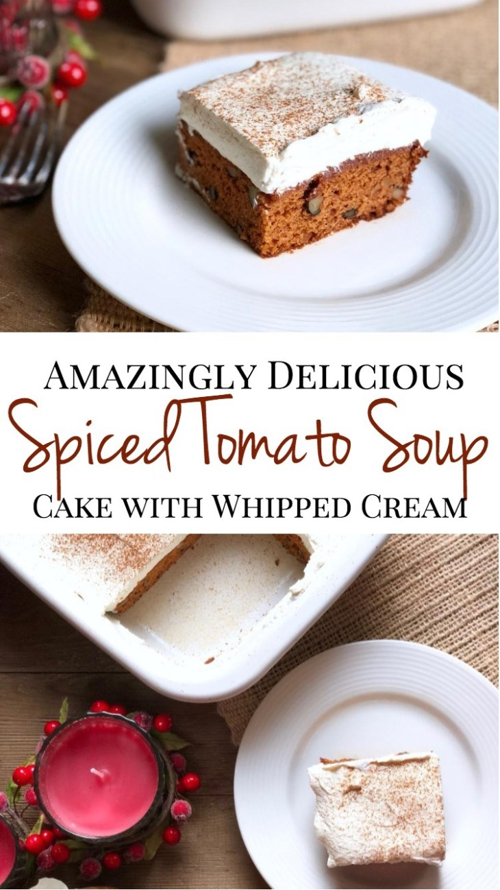 A delicious, dense style spice cake with cinnamon, nutmeg, walnuts and a homemade whipped cream topping. Perfect for any holiday gathering!