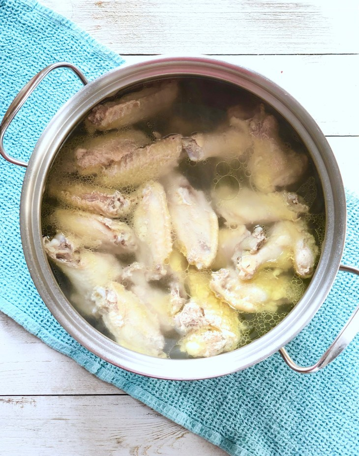 chicken wings boiled in brine