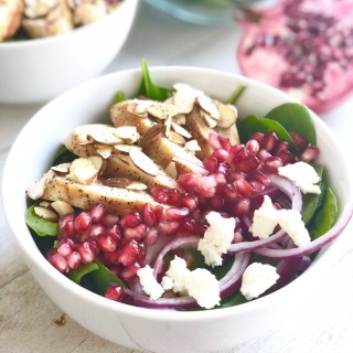 Spinach Pomegranate Salad with Kombucha Dressing