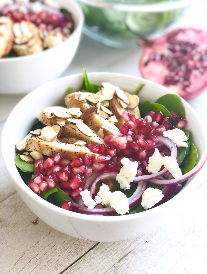 chicken pomegranate salad on a table