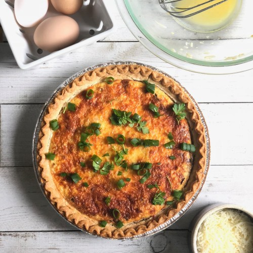 Radish, Spring Onion and Cream Cheese Breakfast Quiche