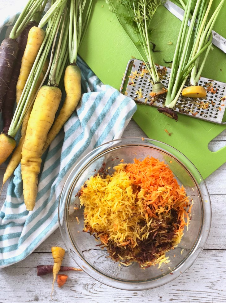 grated rainbow carrots