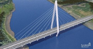 An artist's impression of the new Wear bridge looking west - up river.