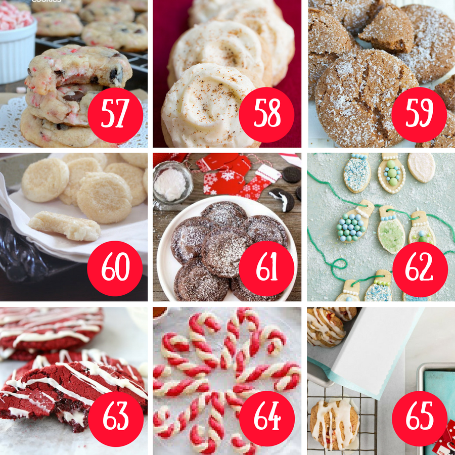 65 Christmas Cookie Recipes - Delicious, easy and wonderful cookie recipes to serve during the holiday season. GIft them or eat them these delicious treats will be loved by all. #christmas #christmascookies #cookies #holidaycookies #cookierecipes