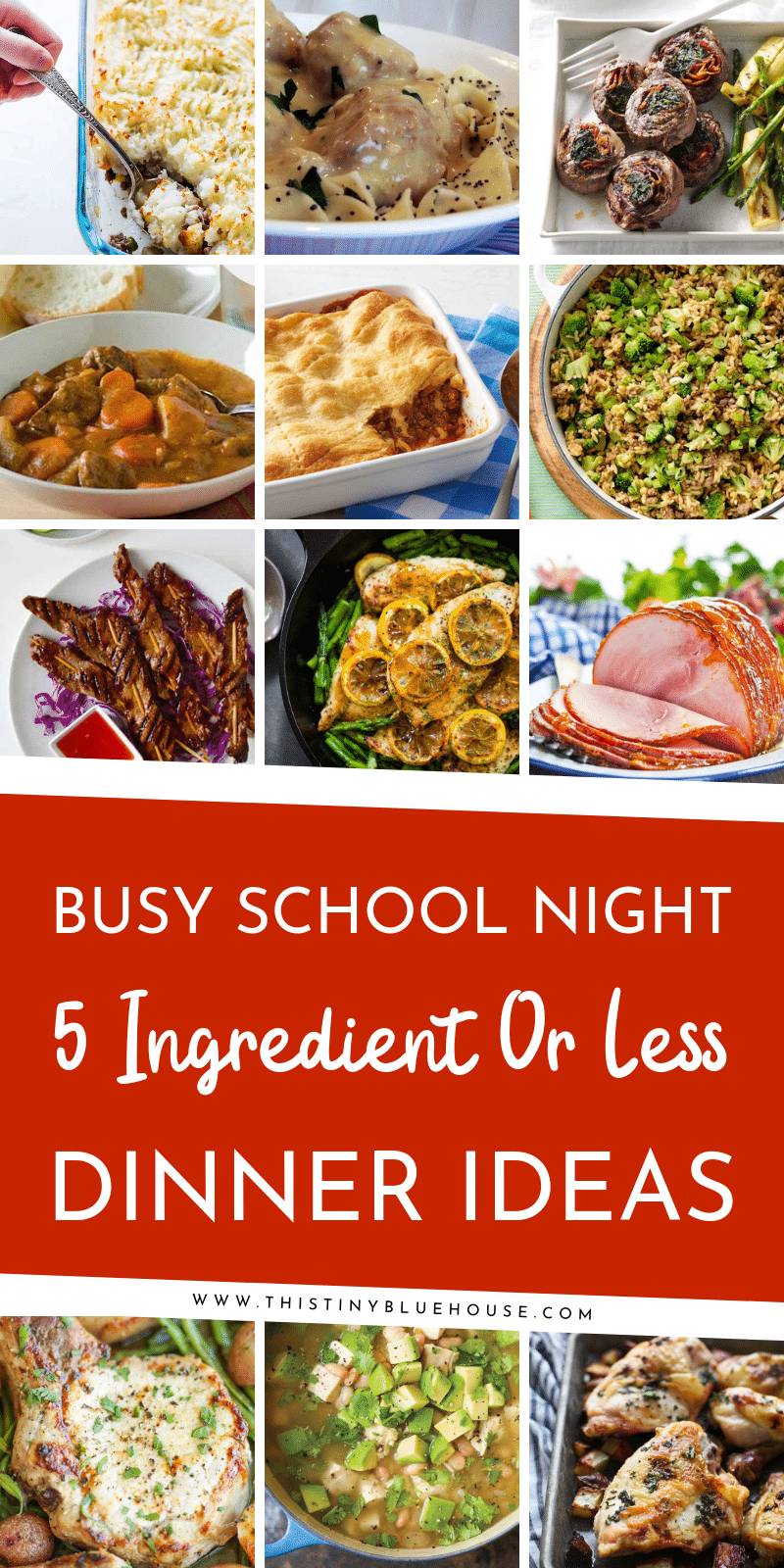 135 easy delicious 5 ingredient dinners split into chicken, beef, pork, fish & meatless categories. Simplify your meal plan with these easy meals. #easydinners #simplesupperrecipes #easyweeknightsuppers #5ingredientdinners #5ingredientsuppers #easyschoolnightdinners #easilyfamilydinnerideas