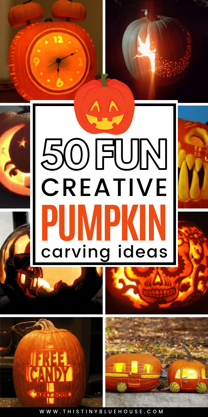 50 unique creative pumpkin carving ideas you've gotta try this Halloween. From scary to adorable there's a pumpkin for everyone!#pumpkincarving #pumpkincarvingideas #pumpkincarvingtemplates #pumpkincarvingdesigns #pumpkincarvingforkids #pumpkincarvingeasy