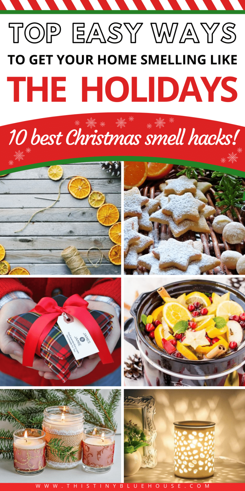 These 10 Genius scent hacks will make your house smell fabulous for the holidays! These 10 ways to make your house smell like Christmas are hands down the easiest and best way to make your house smell amazing and get you into the festive spirit. #smellhacks #smellhacksforhome #smellhacksDIY #smellhackshouses #smellhackshome #smellhackstips #smellhackssimple #scenthacks #scenthackschristmas #smellhackchristmas #easyscenthacks #simplescenthacks #waystomakehousemsellgood #waystomakehousesmellgooddiy #waystomakehousesmellgoodnatural #waystomakehousesmellgoodessentialoils #christmasscents #christmasscenthacks #christmassmellhacks