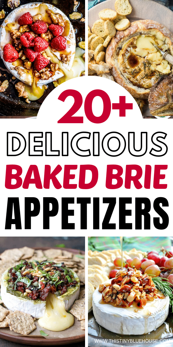 Spoil yourself with one of 20+ sweet or savory baked Brie Appetizers. Deliciousness doesn't get any easier than this oeey gooey melted Brie goodness. #bakedbrie #easybakedbrie #bakedbrierecipes #bestbakedbrie #easybakedbrierecipes