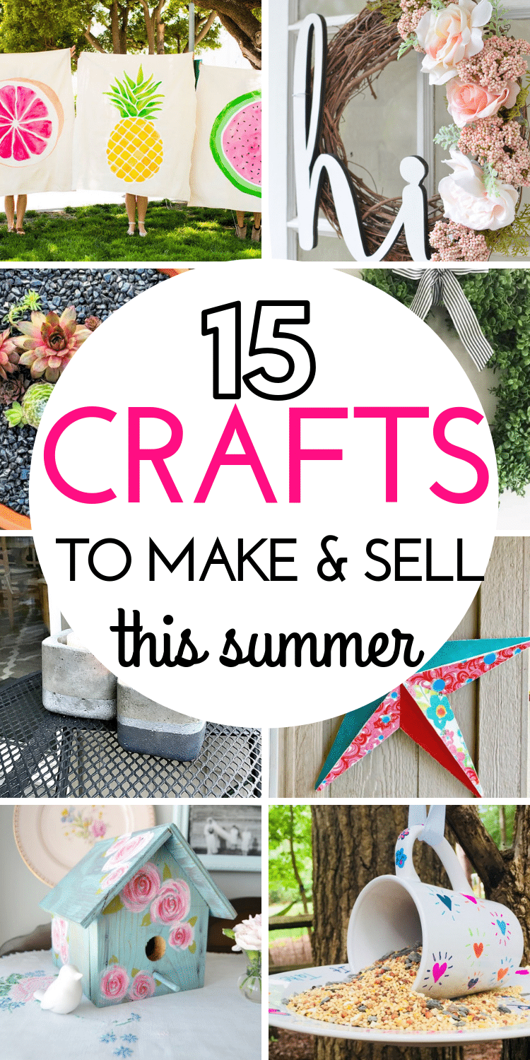 Are you looking to make some extra money this spring or summer by making handicrafts? Here are 15 DIY projects you can make and sell to make extra money every month. These adorable craft ideas cost little in the way of materials and can be a great way to supplement your income. #sidehustles #craftstosell #ideasofcraftstosell #popularcraftstosell #sidehustlesideas #waystomakeextramoney #easyDIYstosell #handicraftstosell #DIYcraftstomakeandsell #makeextramoney