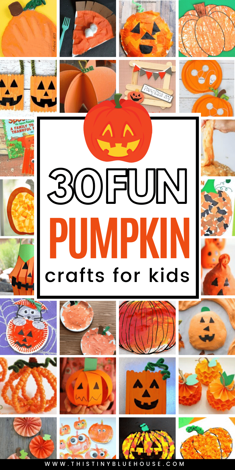 here are 30 of the BEST pumpkin Halloween crafts for kids. These fun crafts are a great way to get excited about Halloween! #halloweencraftsforkids #easyhalloweencraftsforkids #pumpkincraftsforkids #jackolanterncrafts