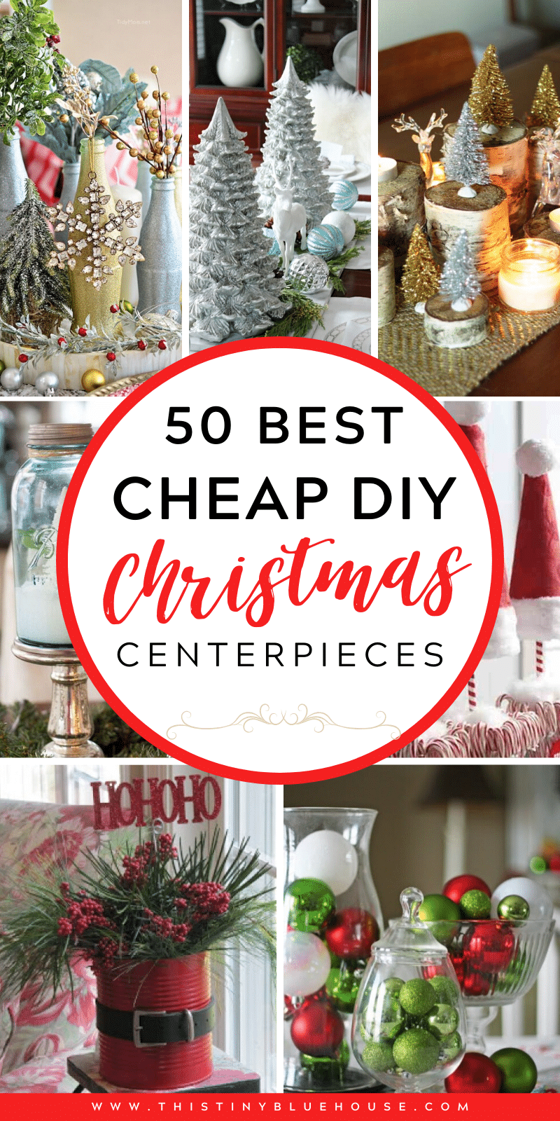 Glam up your mantel, coffee and dining table with these DIY Festive Christmas Centerpieces. From traditional to rustic there's a centerpiece to fit every decor style. #ChristmasCenterpiece #DIYChristmasCenterpiece #ChristmasCenterpieceDollarStore #DIYChristmasCenterpieceRustic #DIYChristmasCenterpieceSimple #DIYChristmasCenterpieceEasy