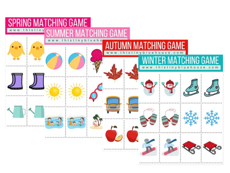 This super cute and fun FREE DIY season memory game is a great way to spend an afternoon learning about the 4 seasons. By matching seasonal items together kids work on their memory skills while learning about the four seasons with this adorable DIY Kids Activity. #DIYActivitiesForKids #DIYMatchingGame #DIYMemoryGame #DIYMemoryGameForKids #MemoryGamesForKids #ActivitiesAboutSeasons #SeasonActivitiesForKids #FunDIYActivitiesForKids