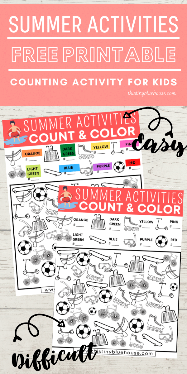 Reduce screen time with this FREE Summer Activities Count and Color game. This fun boredom busting I Spy activity focuses on counting, sorting and coloring. #countandcolor #boredombustingactivities #boredombustersforkids #freeprintablegames #freeprintableactivities #ispy #ispaygame #freeprintablesforpreschoolers #funprintablegamesforkids