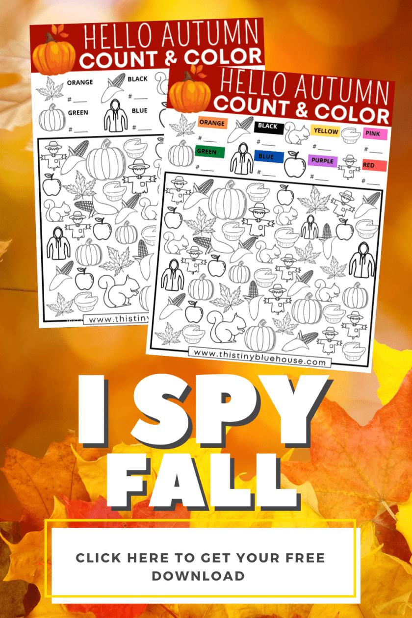 Fall I Spy (Free 2 Version Printable I Spy Game For Kids)