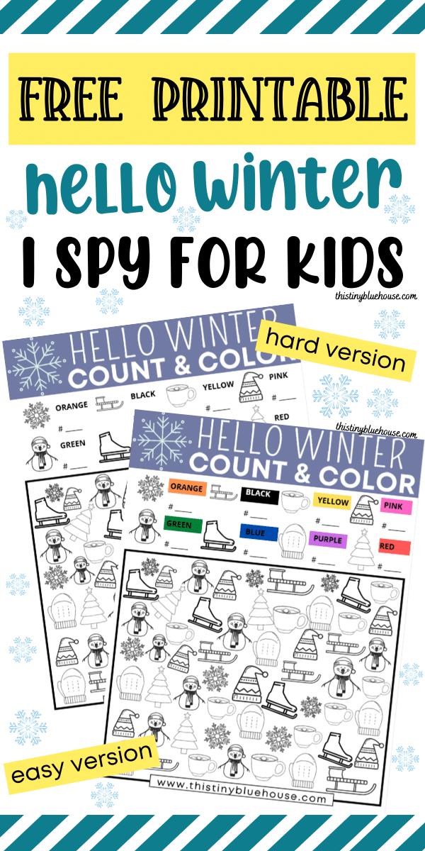 Free Printable Winter I Spy For Kids