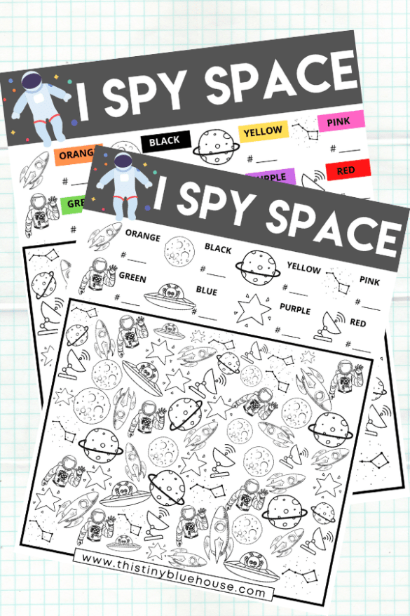 free printable I Spy space worksheet for kids