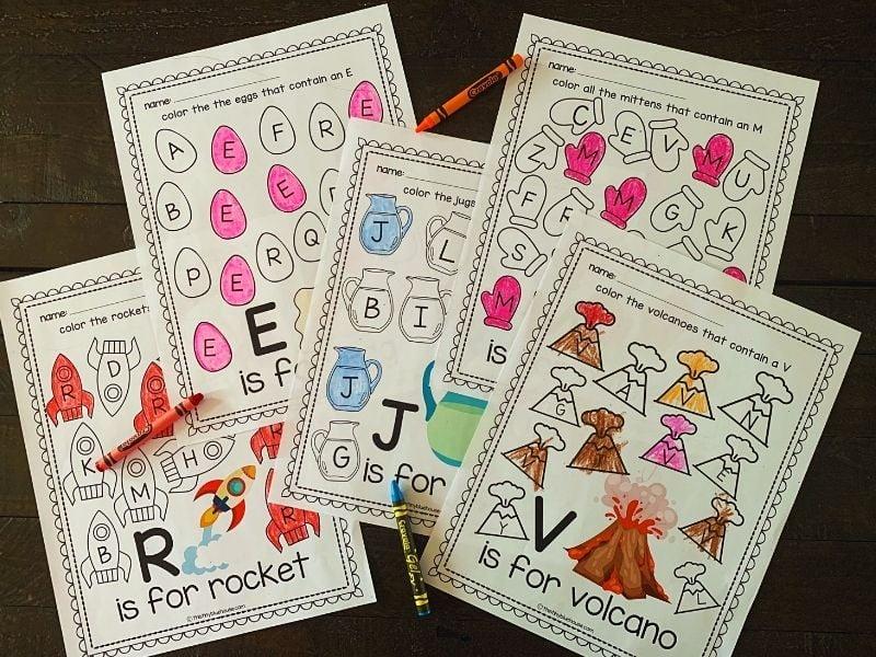 letter recognition worksheets for kids