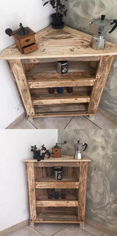 wood pallet corner shelf