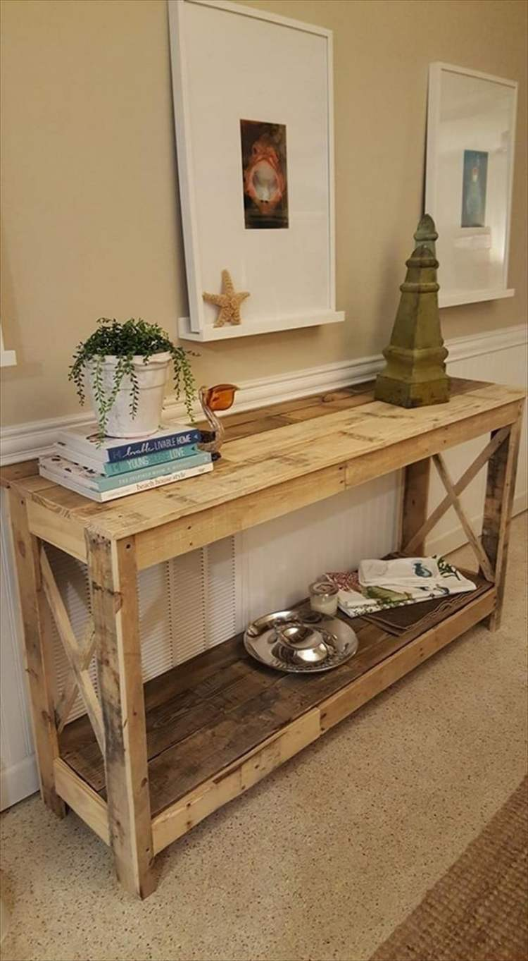 wood pallet entry table