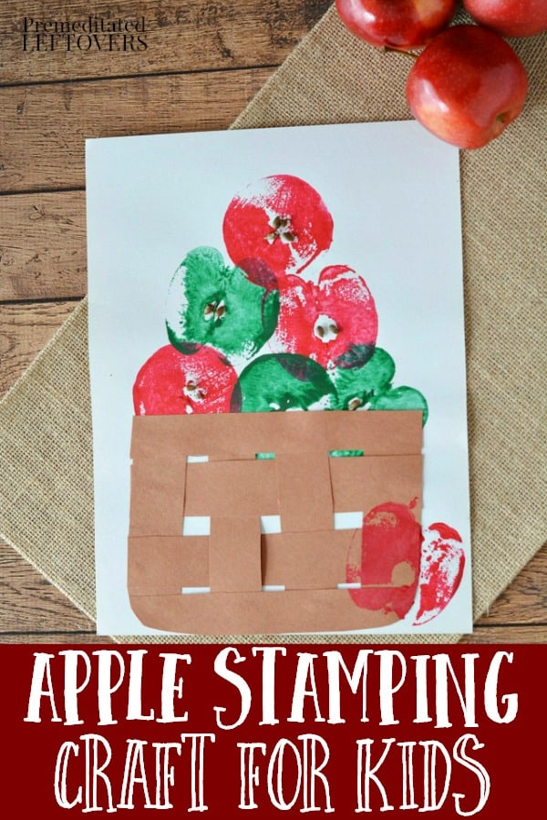 apple stamping fall crafts for preschoolers
