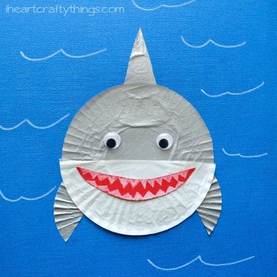 cupcake liner shark crafts