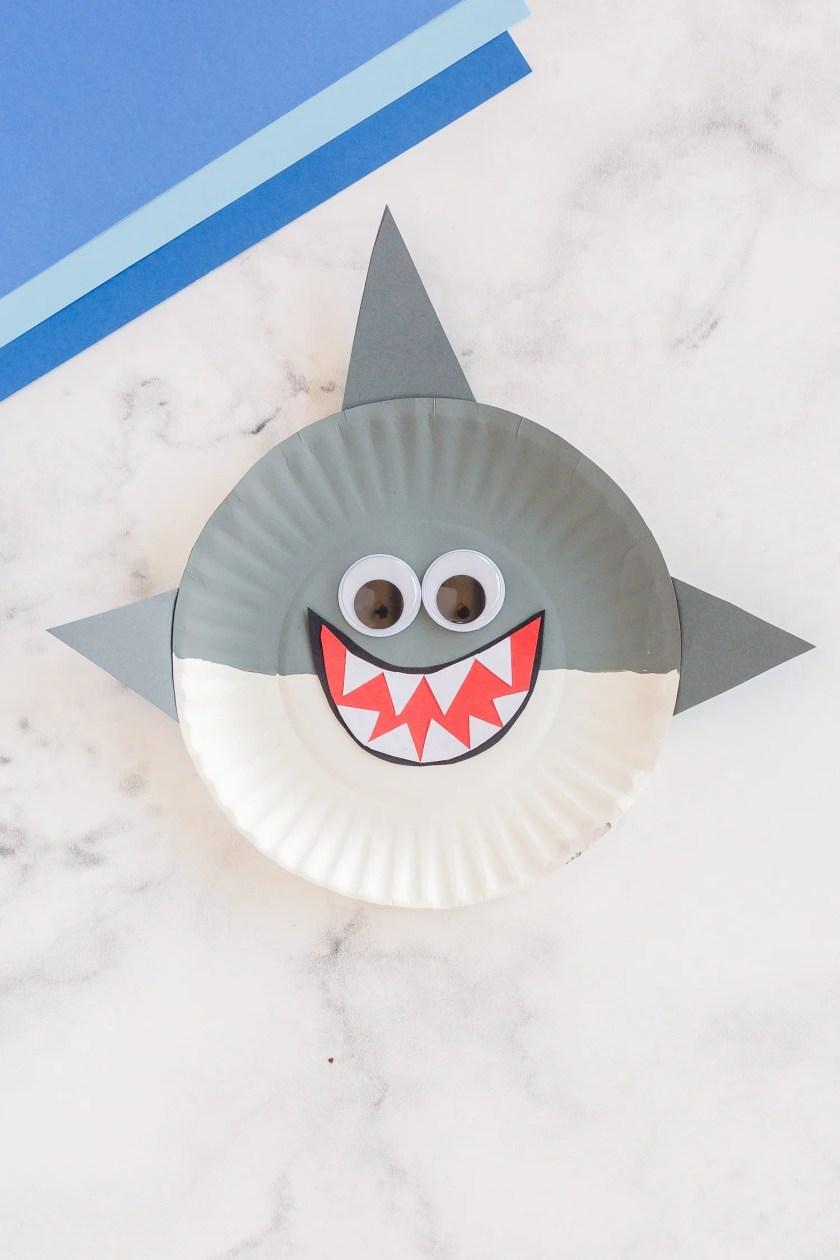 Paper plate shark crafts