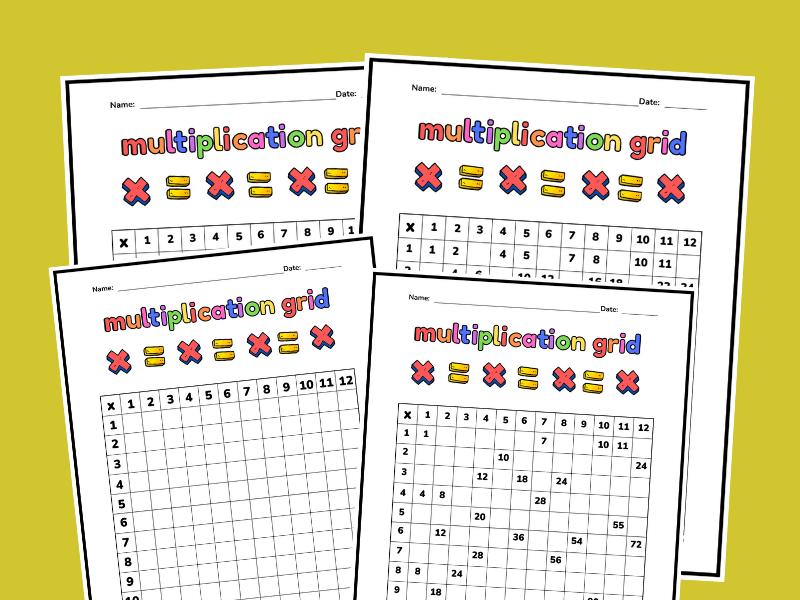 multiplication chart free printable