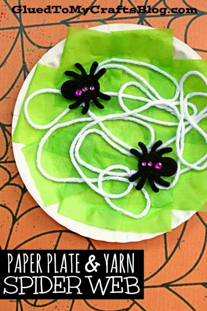 paper plate cobweb craft