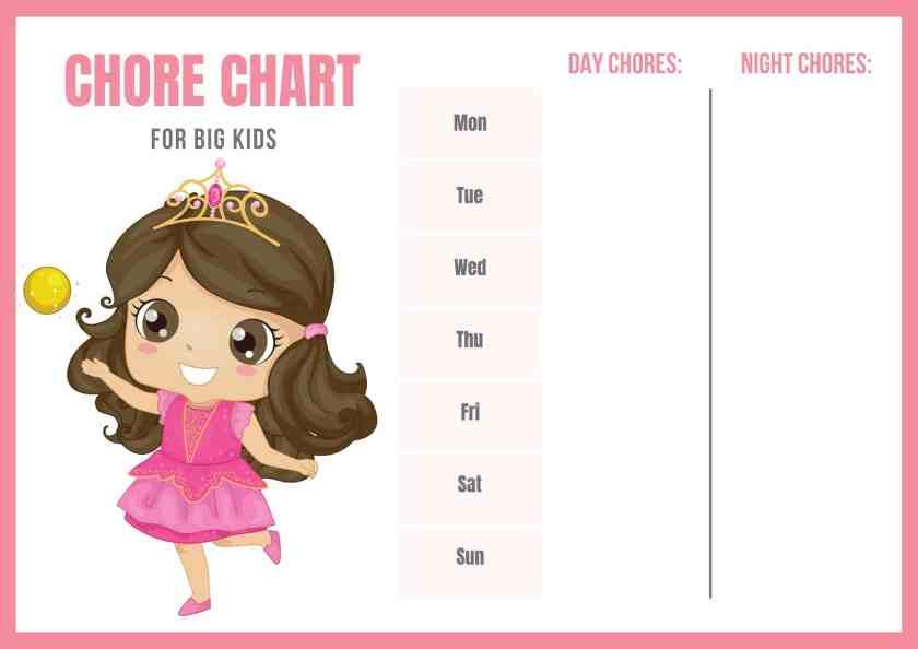 toddler chore chart for girls