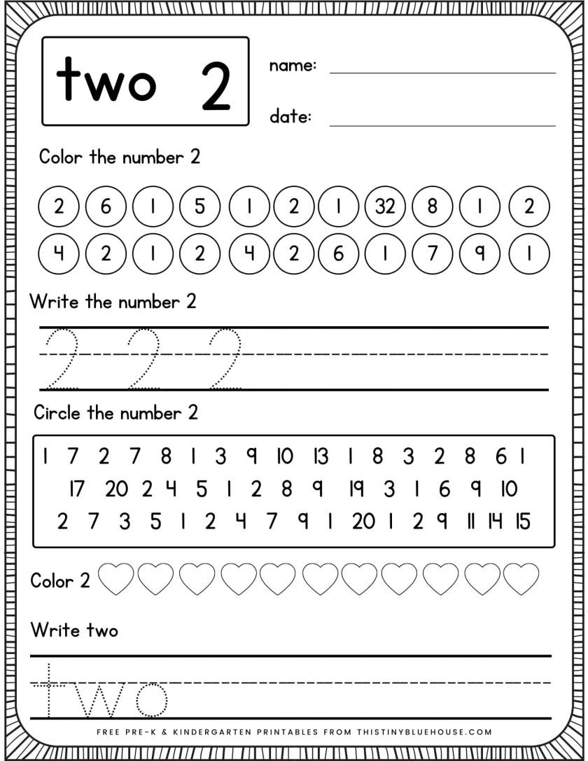 writing number practice worksheets number 2