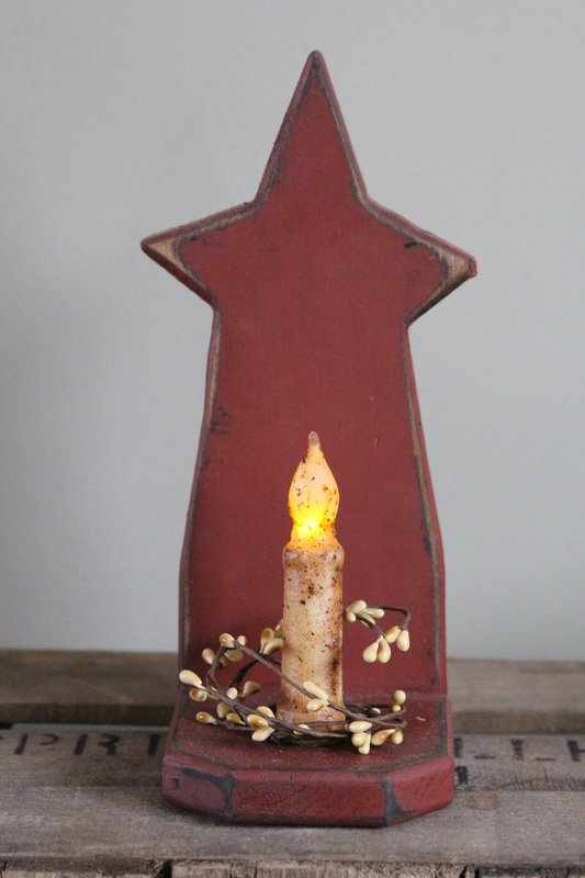 Primitive Star Candle Holder With LED Battery TIMER Candle